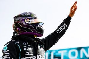 Pole man Lewis Hamilton, Mercedes-AMG F1, celebrates in Parc Ferme