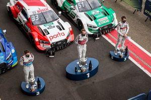 Podium: Race winner René Rast, Audi Sport Team Rosberg, second place Robin Frijns, Audi Sport Team Abt Sportsline, third place Nico Müller, Audi Sport Team Abt Sportsline