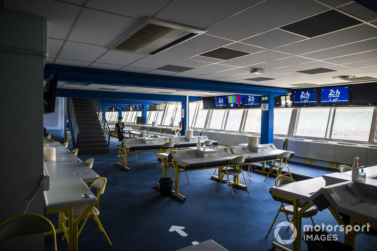 La sala de prensa de Le Mans, vacía