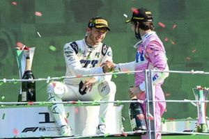 Lance Stroll, Racing Point, 3rd position, congratulates Pierre Gasly, AlphaTauri, 1st position, on the podium