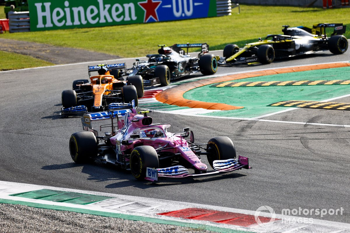 Lance Stroll, Racing Point RP20, Lando Norris, McLaren MCL35, Valtteri Bottas, Mercedes F1 W11