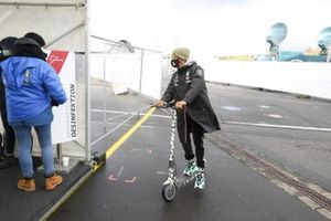 Lewis Hamilton, Mercedes-AMG F1 on a scooter