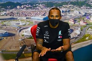Lewis Hamilton, Mercedes-AMG F1, in the post Qualifying Press Conference after securing pole