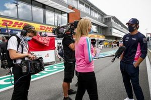 Rachel Brookes, Sky TV, interviews Lance Stroll, Racing Point