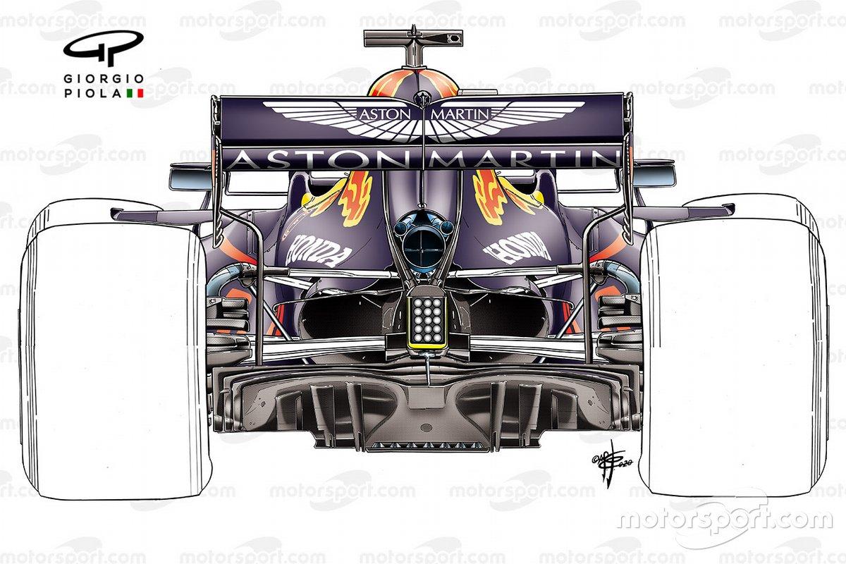 Detalle de la suspensión trasera antigua del Red Bull Racing RB16