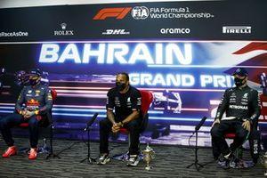 Max Verstappen, Red Bull Racing, Race winner Lewis Hamilton, Mercedes and Valtteri Bottas, Mercedes in the Press Conference in the Press Conference