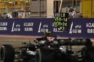 Valtteri Bottas, Mercedes W12, passes a pit board
