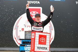 John Hunter Nemechek, Kyle Busch Motorsports, Toyota Tundra Safeway, celebrates after winning.