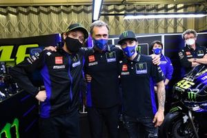 Valentino Rossi and Maverick Vinales at Yamaha Factory Racing farewell event