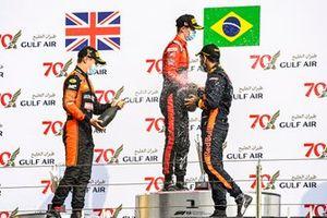 Race Winner Felipe Drugovich, MP Motorsport, Callum Ilott, UNI-Virtuosi and Jehan Daruvala, Carlin celebrate on the podium with the champagne