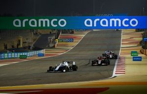 Jack Aitken, Williams FW43, Pietro Fittipaldi, Haas F1 Haas VF-20, Kimi Raikkonen, Alfa Romeo Racing C39, and Sergio Perez, Racing Point RP20