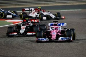 Sergio Perez, Racing Point RP20, Kevin Magnussen, Haas VF-20, and Antonio Giovinazzi, Alfa Romeo Racing C39