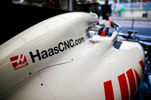 The engine cover on the Haas F1 Team VF-18