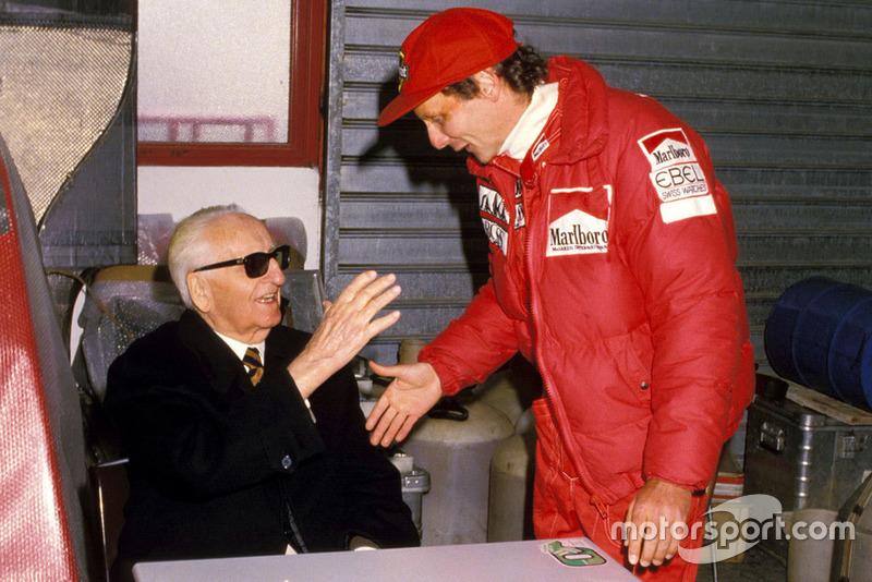Enzo Ferrari com Niki Lauda