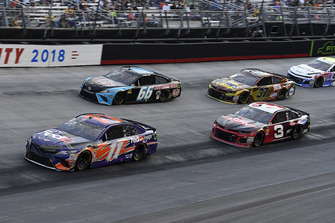 Denny Hamlin, Joe Gibbs Racing, Toyota Camry FedEx Freight, Austin Dillon, Richard Childress Racing, Chevrolet Camaro Dow NORKOOL, Timmy Hill, Motorsports Business Management, Toyota Camry, and Chris Buescher, JTG Daugherty Racing, Chevrolet Camaro Bush's Beans
