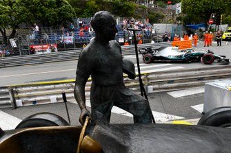 Valtteri Bottas, Mercedes AMG W10, passes the Fangio memorial