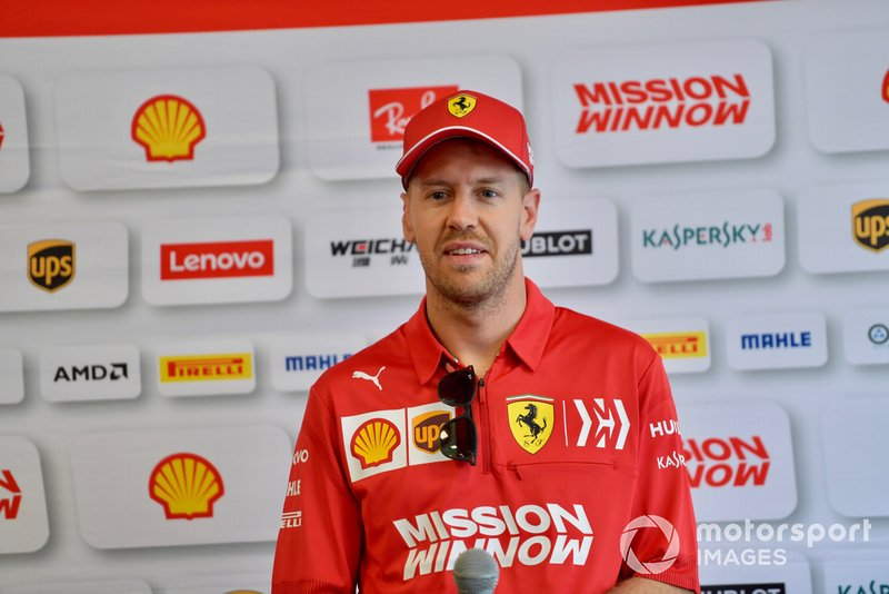Sebastian Vettel, Ferrari talks to the media