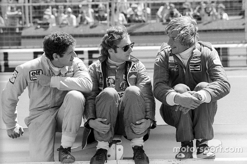 Jody Scheckter, Tyrrell, Niki Lauda, Ferrari and James Hunt, McLaren