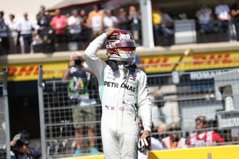 Pole man Lewis Hamilton, Mercedes AMG F1, celebrates after Qualifying
