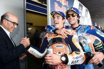Alex Rins, Team Suzuki MotoGP, Marc Marquez, Repsol Honda Team, Carmelo Ezpeleta, CEO Dorna Sports, Spanish MotoGP Race 2019