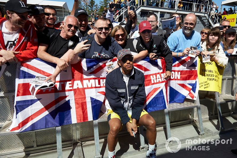 Lewis Hamilton, Mercedes AMG F1 poses for a photograph with Team LH fans
