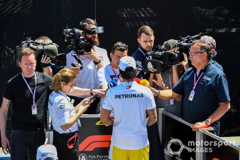 Lewis Hamilton, Mercedes AMG F1 speaks to the media