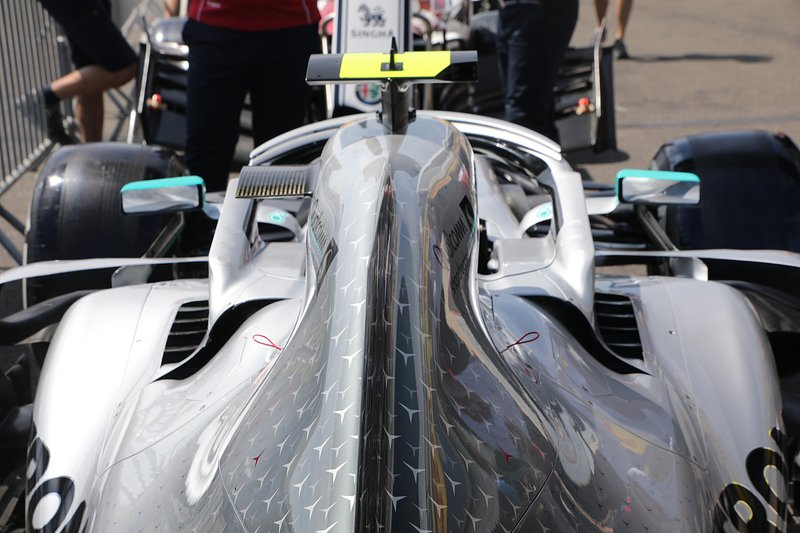 Mercedes AMG F1 W10 rear bodywork detail