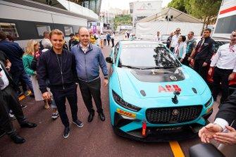 Nico Rosberg, Formula E investor and Albert II, Prince of Monaco with the Jaguar iPACE VIP car