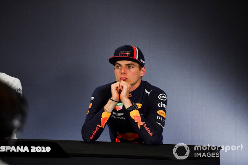 Max Verstappen, Red Bull Racing, 3° classificato, durante la conferenza stampa