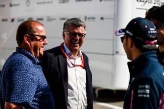 Otmar Szafnauer, Team Principal and CEO, Racing Point, Sergio Perez, Racing Point and Lance Stroll, Racing Point in the paddock