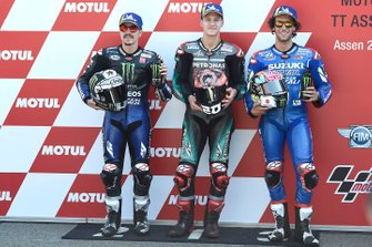 Pole sitter Fabio Quartararo, Petronas Yamaha SRT, second place Maverick Vinales, Yamaha Factory Racing, third place Alex Rins, Team Suzuki MotoGP