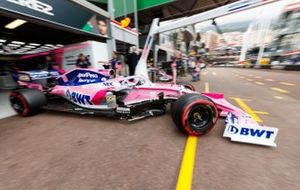 Sergio Perez, Racing Point RP19, leaves the garage
