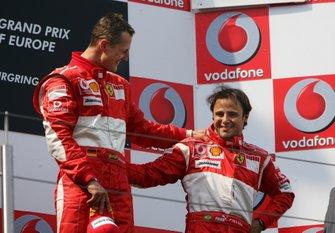 Podio: ganador de la carrera Michael Schumacher, Ferrari, tercer lugar Felipe Massa, Ferrari