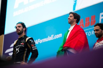 Winner Antonio Felix da Costa, BMW I Andretti Motorsports on the podium with second position Jean-Eric Vergne, DS TECHEETAH, third position Jérôme d'Ambrosio, Mahindra Racing