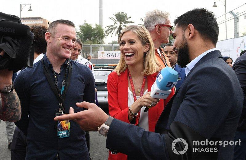 Wayne Rooney, calciatore, Amir Khan, pugile, parlano con la presentatrice TV Nicki Shields
