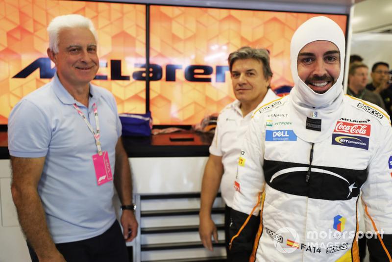 Jose Luis Alonso con su hijo Fernando Alonso, McLaren