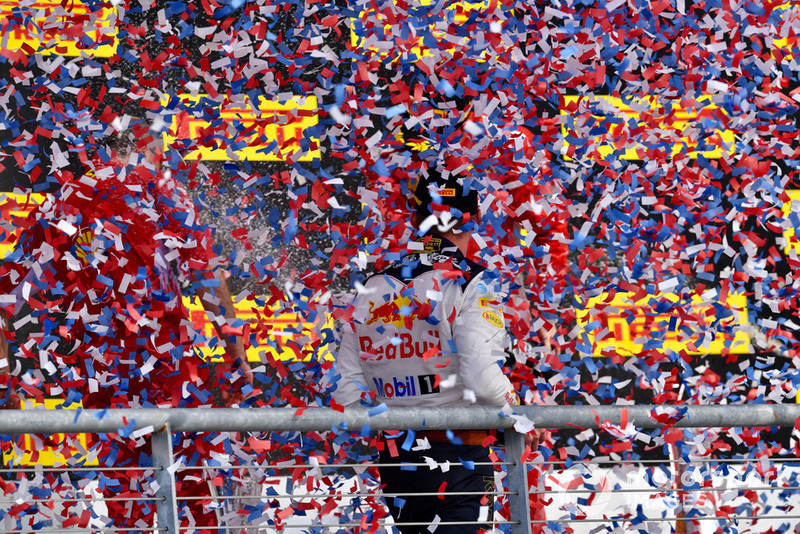 Max Verstappen, Red Bull Racing celebrates with the champagne on the podium
