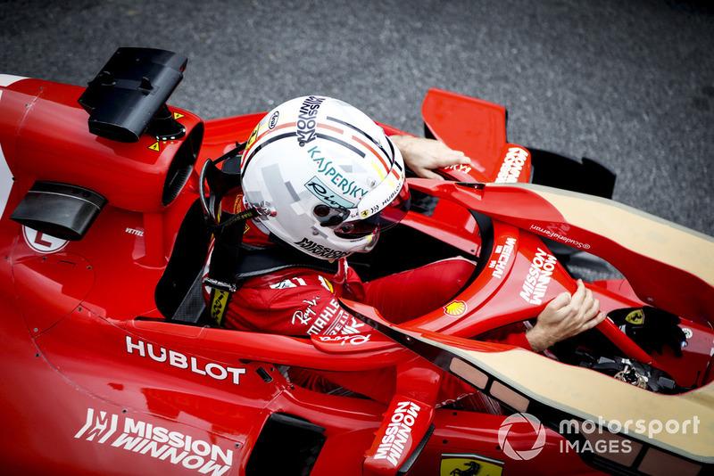 Sebastian Vettel, Ferrari, arrives in Parc Ferme after Qualifying