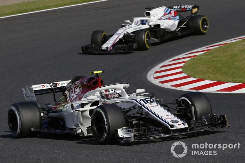 Charles Leclerc, Sauber C37 y Lance Stroll, Williams FW41