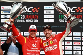 ROC Nations Cup Runners up Sebastian Vettel and Mick Schumacher of Team Germany