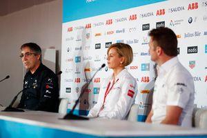 Руководитель DS Techeetah Formula E Team Марк Престон, глава Venturi Formula E Team Сьюзи Вольф и руководитель Audi Sport Abt Schaeffler Алан Макниш