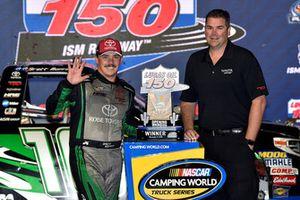 Brett Moffitt, Hattori Racing Enterprises, Toyota Tundra KOBE celebrates his win in Victory Lane