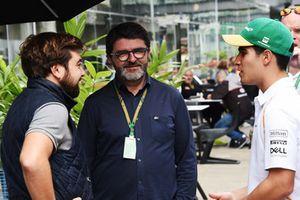 (L to R): Jose Villanueva, Estrella Galicia, Luis Garcia Abad, manager of Fernando Alonso, McLaren and Sergio Sette Camara, McLaren