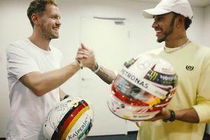 Sebastian Vettel, Ferrari and Lewis Hamilton, Mercedes F1 AMG