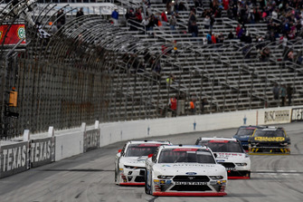 Cole Custer, Stewart-Haas Racing, Ford Mustang Autodesk, crosses the finish line to win in Texas.