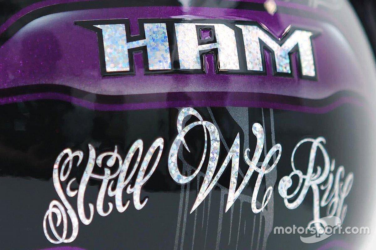 Lewis Hamilton, Mercedes AMG F1 helmet detail