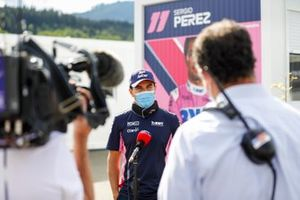 Sergio Perez, Racing Point speaks to the media