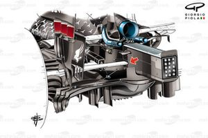 Suspensión trasera del Mercedes AMG F1 W11