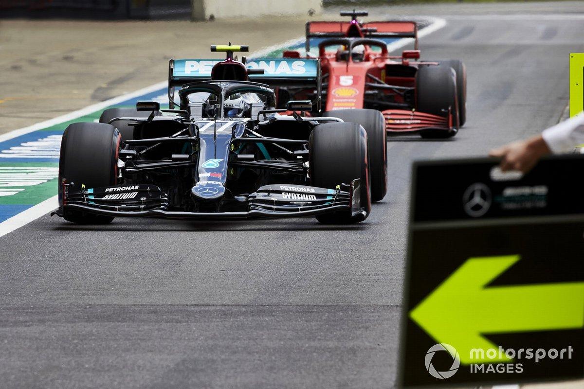 Valtteri Bottas, Mercedes F1 W11 e Sebastian Vettel, Ferrari SF1000