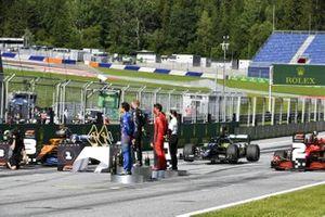 Lando Norris, McLaren, il vincitore della gara Valtteri Bottas, Mercedes-AMG Petronas F1 e Charles Leclerc, Ferrari sul podio